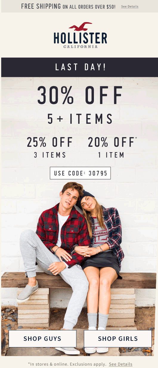 Hollister Coupon May 2018 20-30% off today at Hollister, or online via promo code 30795