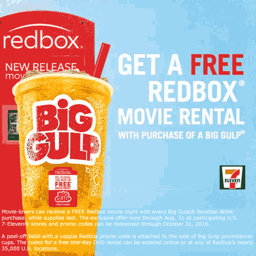 7-Eleven Coupon April 2017 Free DVD rental at Redbox with your Big Gulp from 7-Eleven