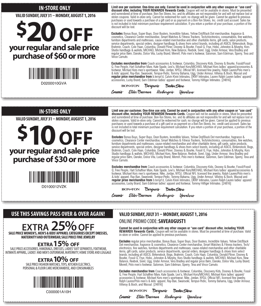 Carsons Coupon April 2017 25% off & more today at Carsons, Bon Ton & sister stores, or online via promo code SAVEAUGUST1