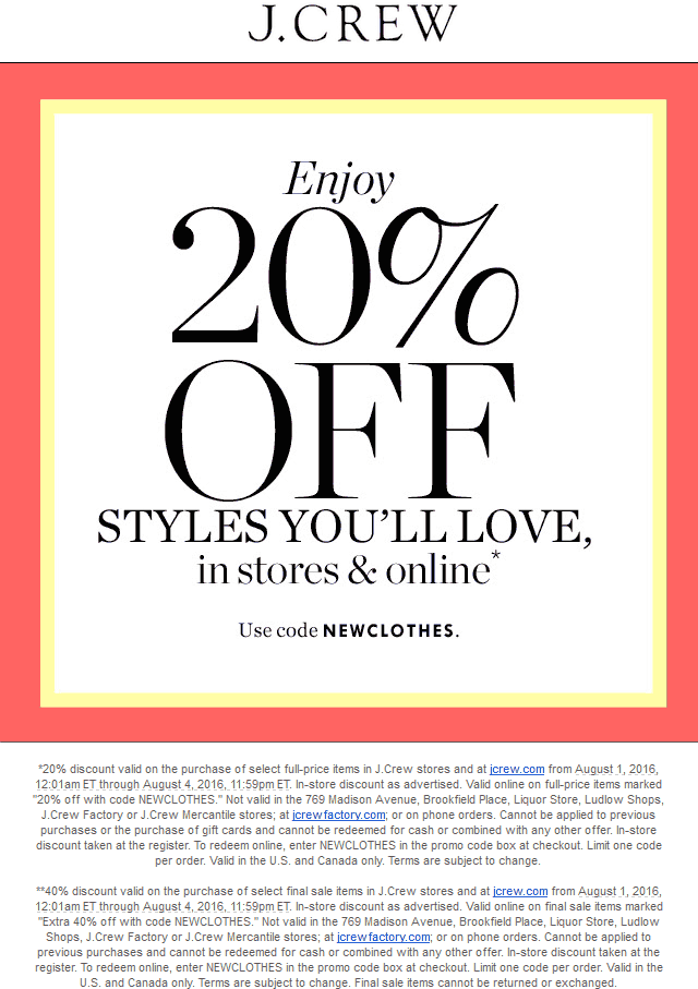 J.Crew Coupon May 2017 20% off at J.Crew, or online via promo code NEWCLOTHES
