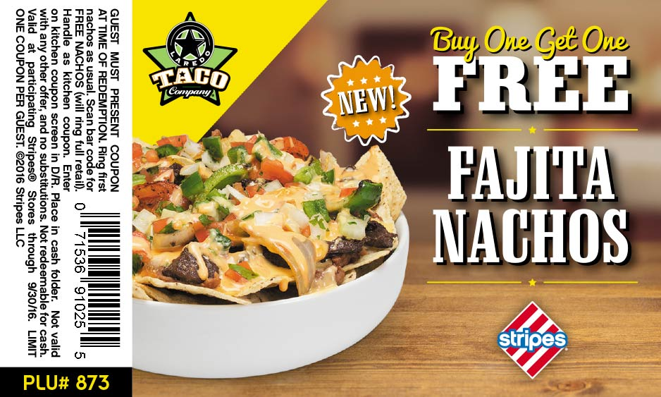 Stripes Coupon December 2017 Second fajita nachos free at Stripes gas stations