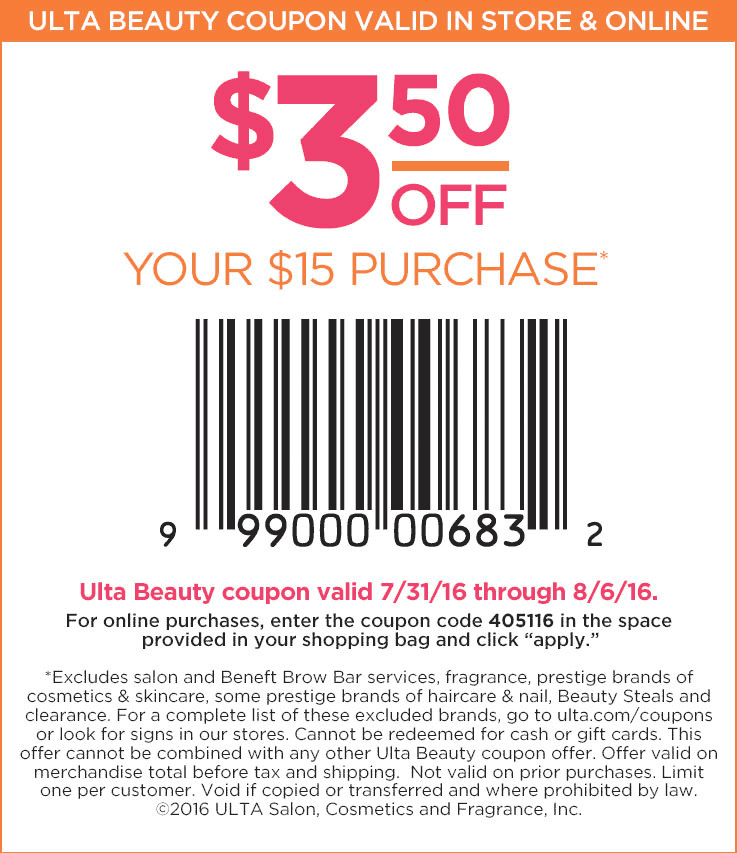 Ulta Beauty Coupon December 2016 $3 off $15 at Ulta Beauty, or online via promo code 405116