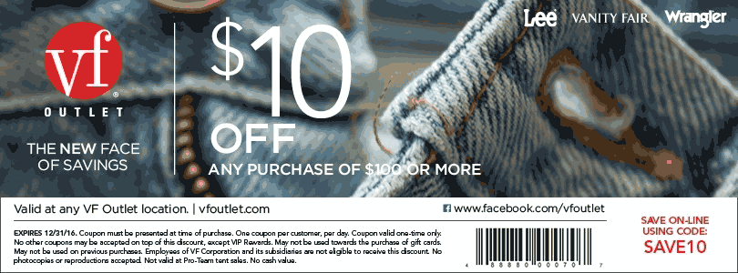 VF Outlet Coupon July 2017 $10 off $100 at VF Outlet, or online via promo code SAVE10