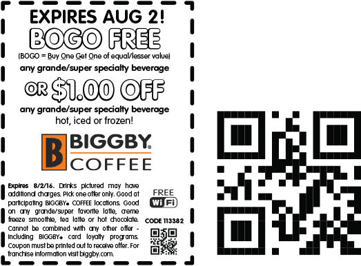 Biggby Coffee Coupon June 2017 Second coffee free today at Biggby Coffee