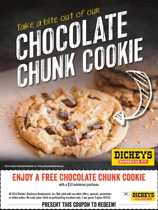 Dickeys Barbecue Pit Coupon August 2017 Free cookie with $10 spent at Dickeys Barbecue Pit restaurants