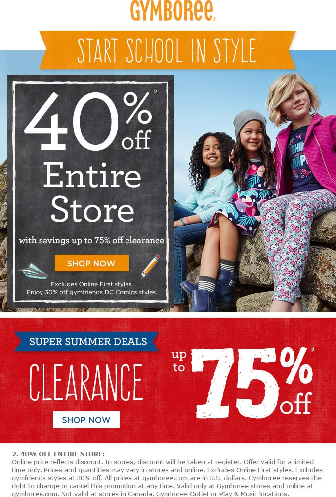 Gymboree Coupon March 2018 40% off everything at Gymboree, ditto online