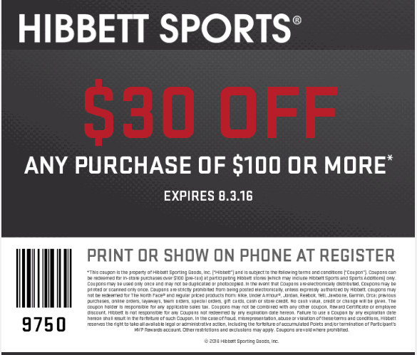 Hibbett Sports Coupon January 2018 $30 off $100 at Hibbett Sports