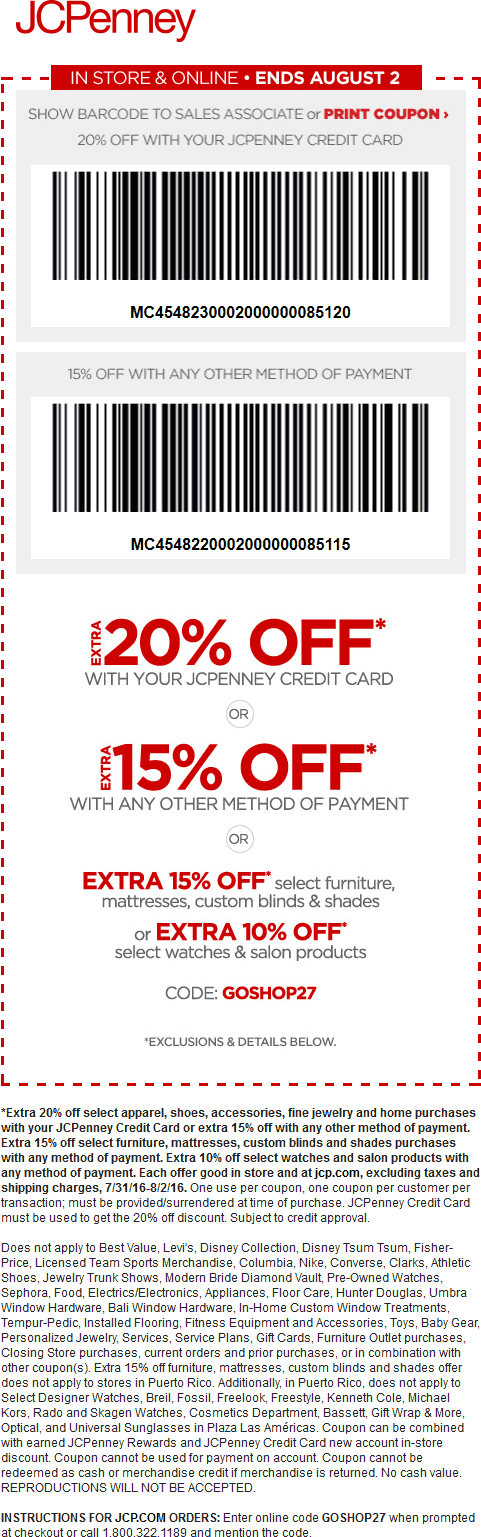 JCPenney Coupon October 2017 15% off today at JCPenney, or online via promo code GOSHOP27