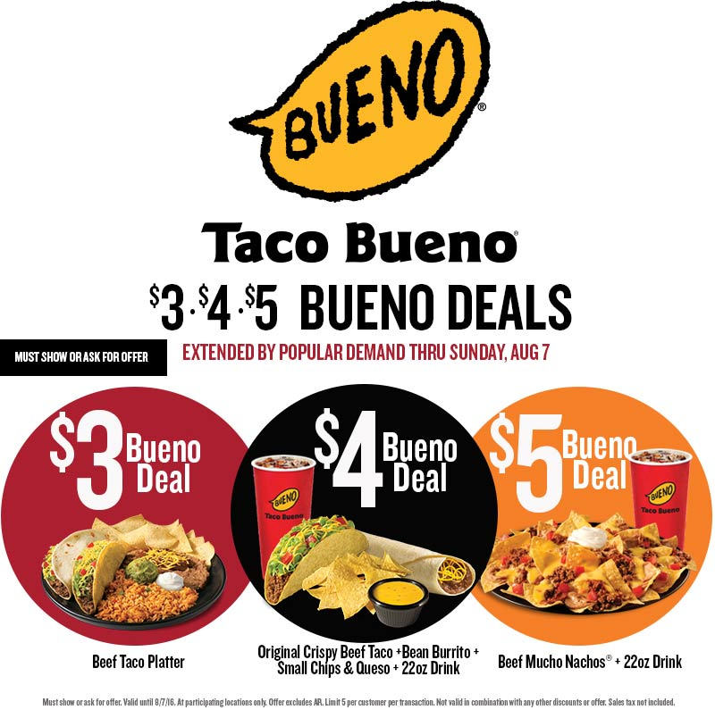 Taco Bueno Coupon November 2017 Cheap eats at Taco Bueno