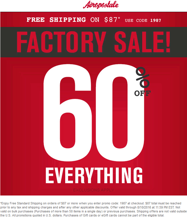 Aeropostale Coupon September 2017 60% off everything at Aeropostale, ditto online with free shipping via promo 1987
