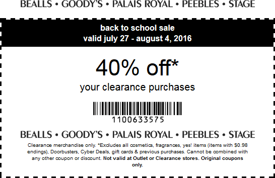 Bealls Coupon October 2016 Extra 40% off clearance at Peebles, Goodys, Bealls & Stage stores