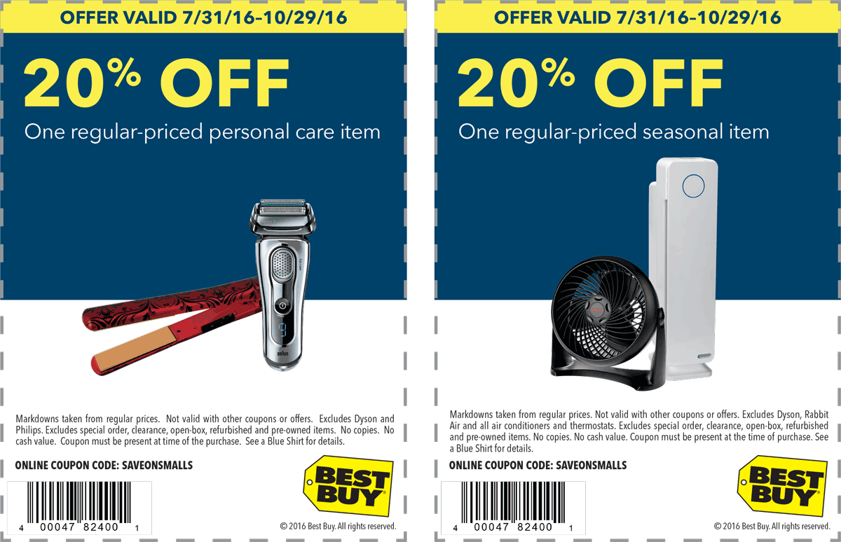 Best Buy Coupon January 2017 20% off a single seasonal item at Best Buy, or online via promo code SAVEONSMALLS