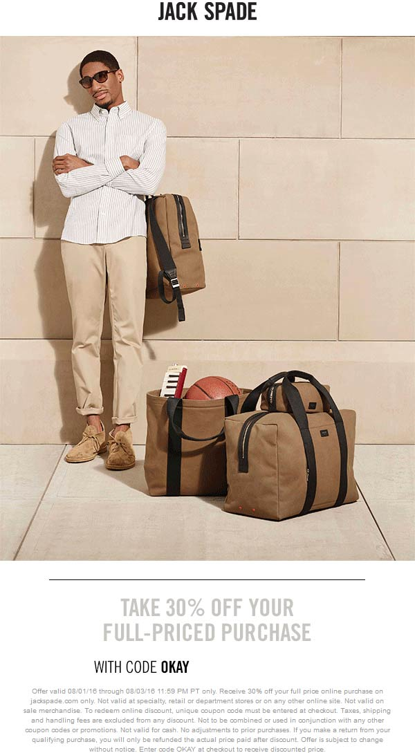 JackSpade.com Promo Coupon 30% off online today at Jack Spade via promo code OKAY