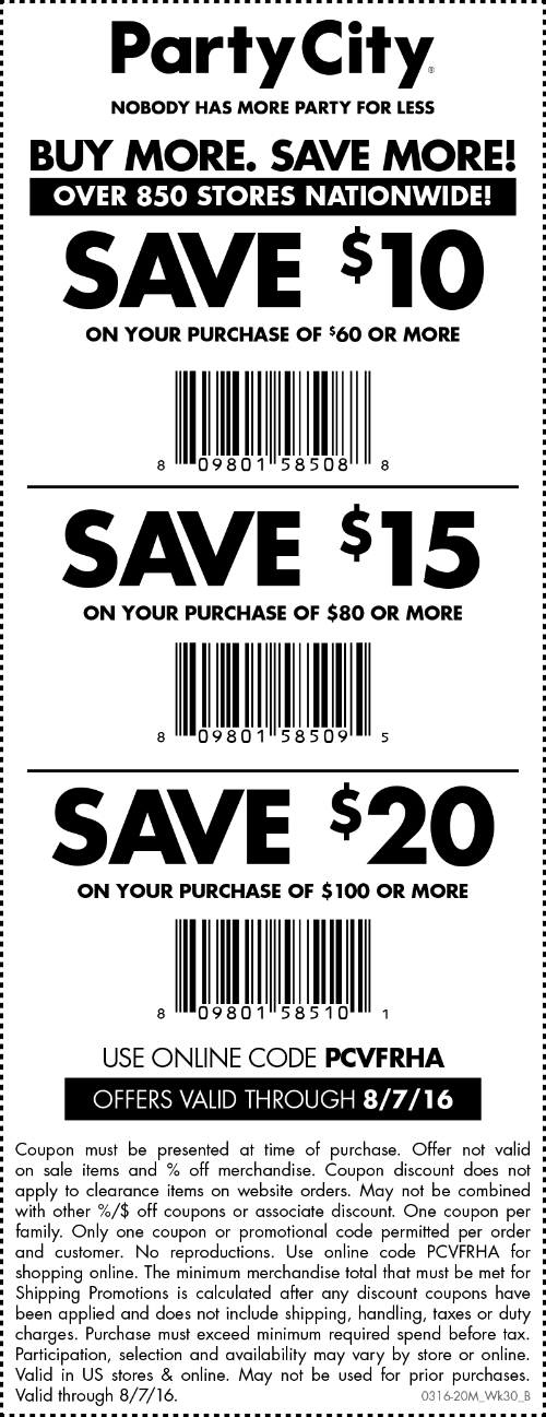 Party City Coupon March 2017 $10 off $60 & more at Party City, or online via promo code PCVFRHA