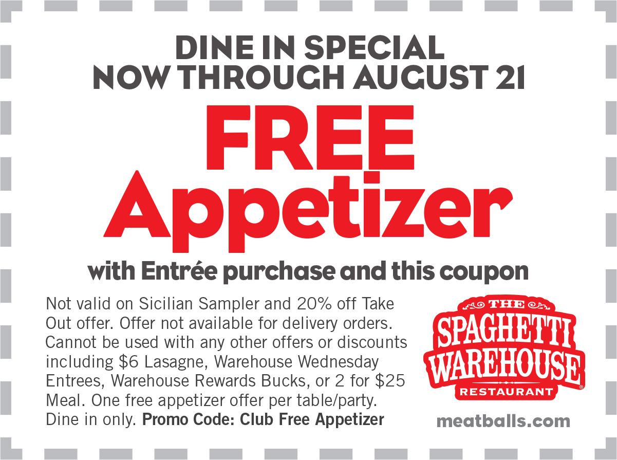 Spaghetti Warehouse Coupon February 2018 Free appetizer with your entree at Spaghetti Warehouse