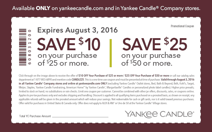 Yankee Candle Coupon December 2016 $10 off $25 & more today at Yankee Candle, or online via promo code CANDLE25