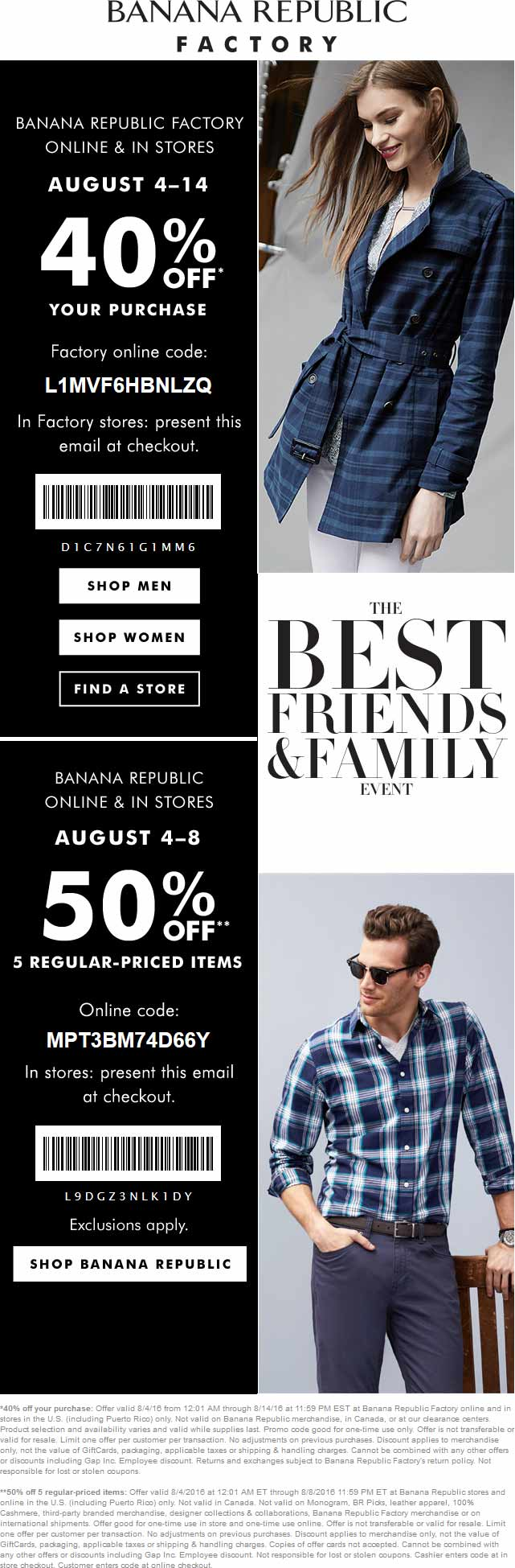 BananaRepublicFactory.com Promo Coupon Extra 40-50% off at Banana Republic Factory, or online via promo code L1MVF6HBNLZQ