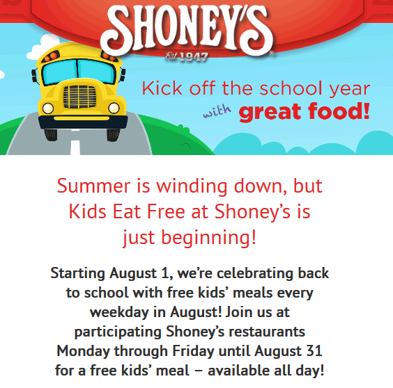 Shoneys Coupon August 2018 Kids eat free all day weekdays this month at Shoneys