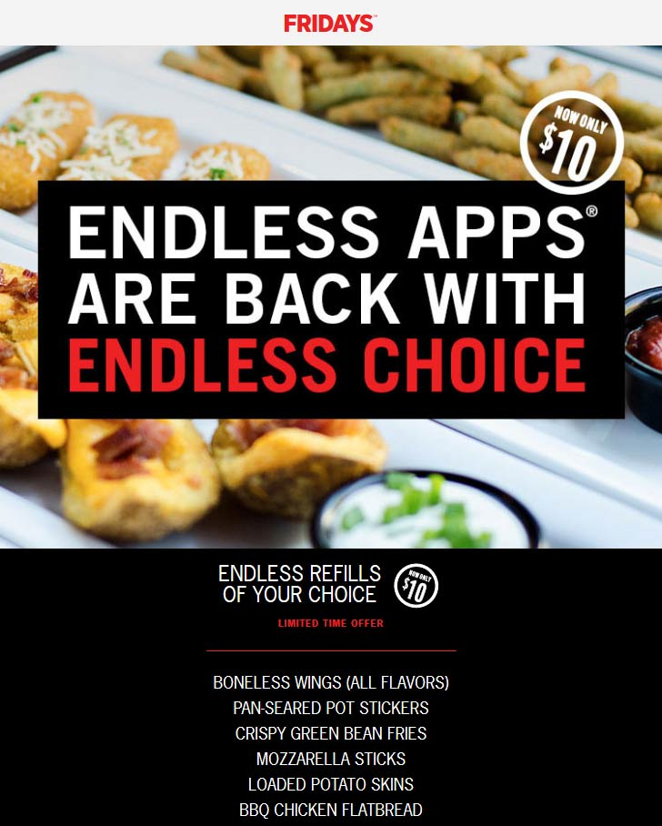 TGI Fridays Coupon December 2018 $10 bottomless appetizers are back at TGI Fridays
