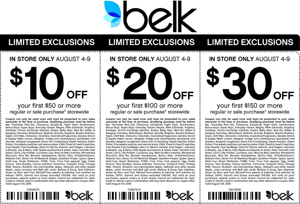Belk Coupon October 2016 $10 off $50 & more at Belk, or online via promo code 79196563