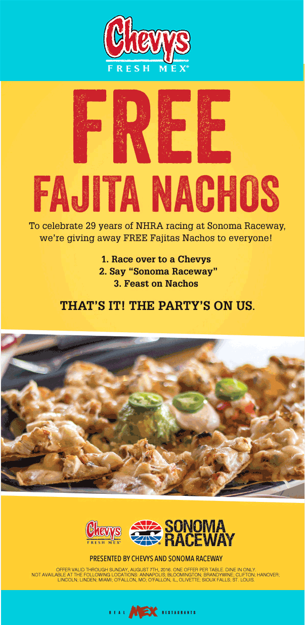 Chevys.com Promo Coupon Free fajita nachos at Chevys Fresh Mex restaurants