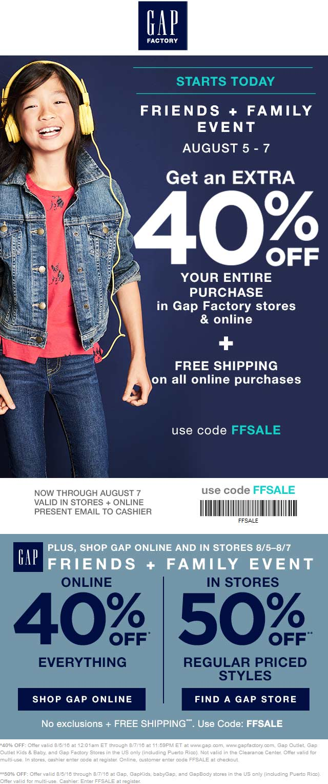 Gap Coupon February 2018 50% off at Gap & Gap Factory locations, or 40% online via promo code FFSALE