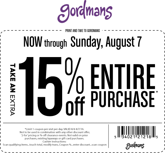 Gordmans Coupon September 2017 15% off at Gordmans