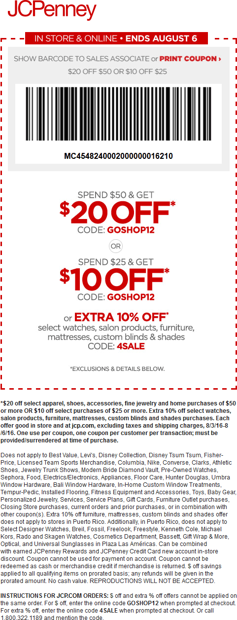 JCPenney Coupon August 2017 $10 off $25 & more at JCPenney, or online via promo code GOSHOP12