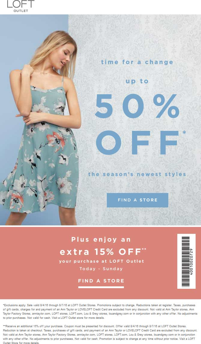 LOFT Outlet Coupon August 2017 Extra 15% off + 50% off sale going on at LOFT Outlet