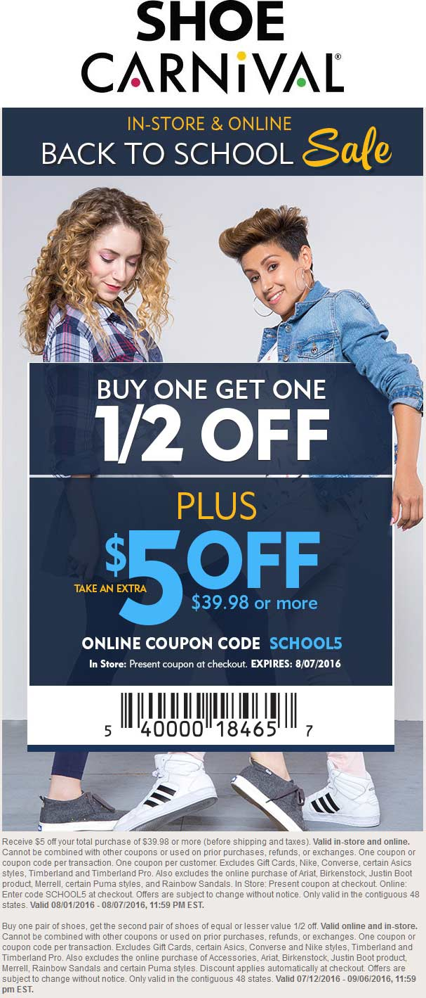 Shoe Carnival Coupon February 2018 $5 off $40 at Shoe Carnival, or online via promo code SCHOOL5