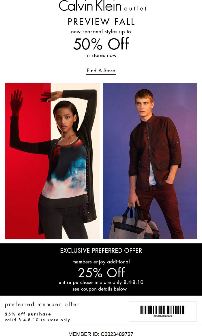 Calvin Klein Outlet Coupon May 2018 Extra 25% off at Calvin Klein Outlet