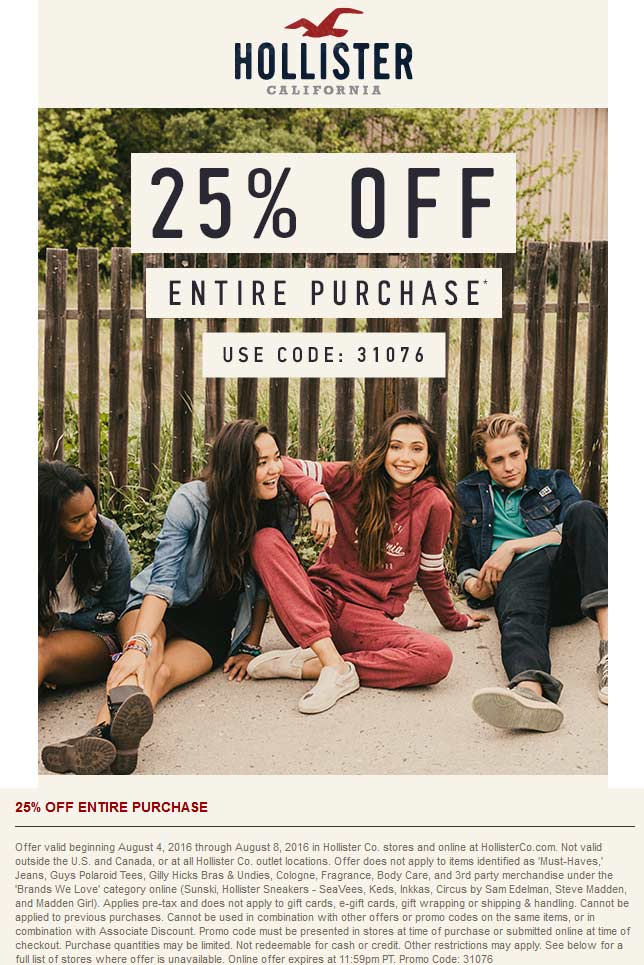 Hollister Coupon September 2017 25% off at Hollister, or online via promo code 31076
