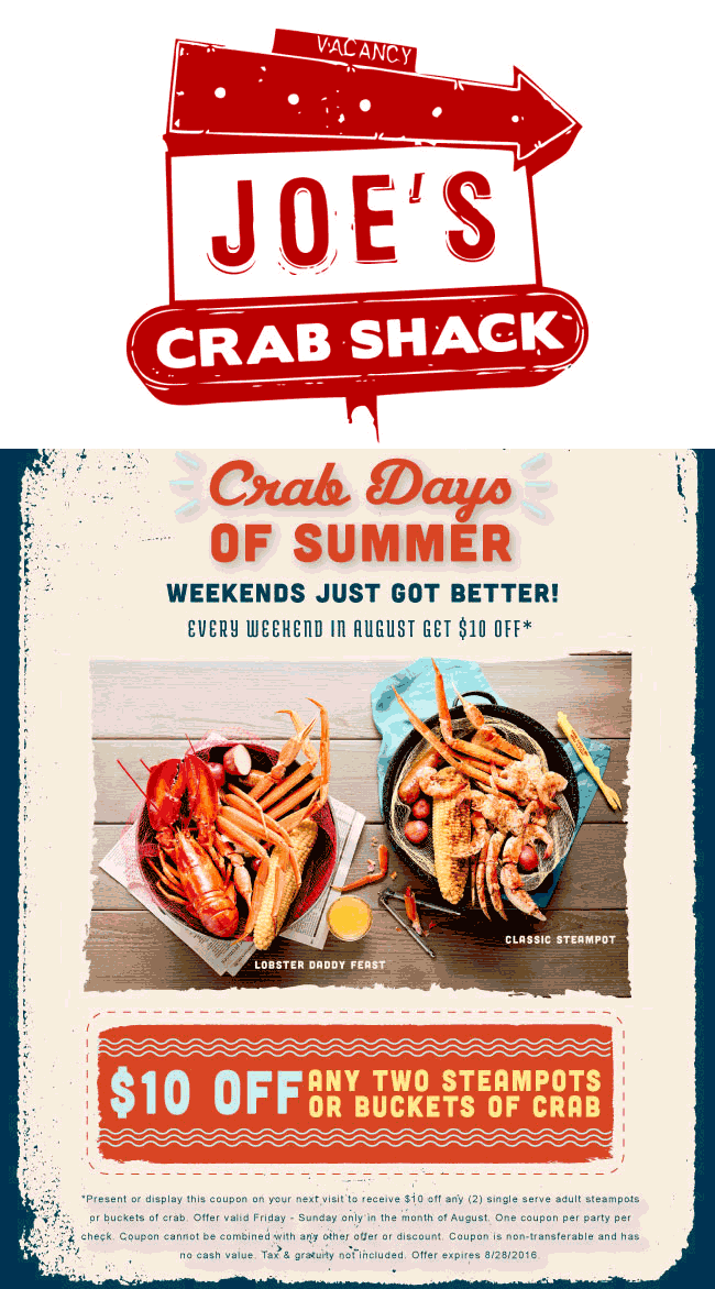 Joes Crab Shack Coupon December 2018 $10 off two buckets on weekends at Joes Crab Shack