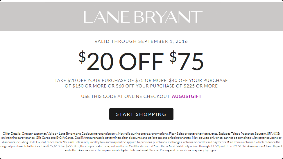 Lane Bryant Coupon May 2017 $20 off $75 & more at Lane Bryant, or online via promo code AUGUSTGIFT