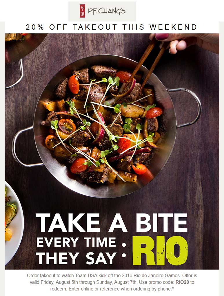 P.F. Changs Coupon February 2017 20% off takeout at P.F. Changs restaurants via promo code RIO20
