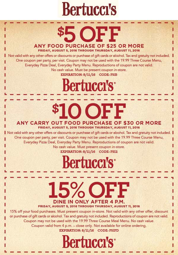 Bertuccis Coupon April 2017 $5 off $25 & more at Bertuccis restaurants