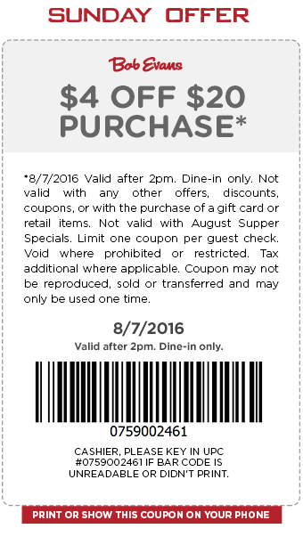 Bob Evans Coupon April 2017 $4 off $20 today at Bob Evans restaurants
