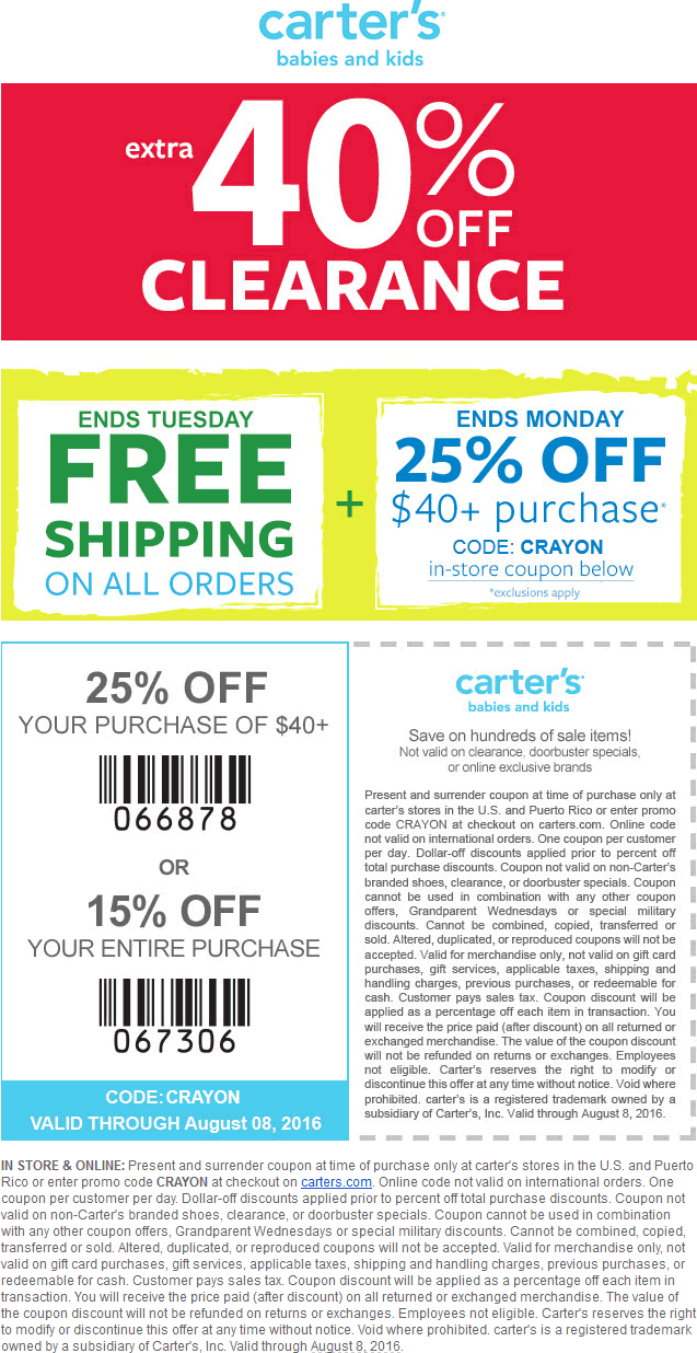 Carters Coupon May 2017 15-25% off everything + 40% off clearance at Carters, or online via promo code CRAYON