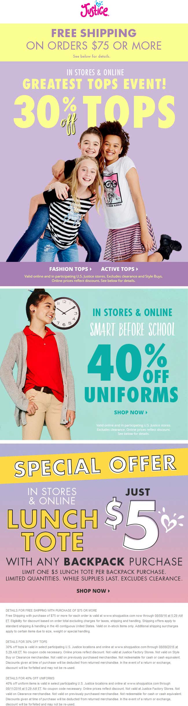 Justice Coupon April 2017 40% off uniforms, 30% off tops at Justice, ditto online
