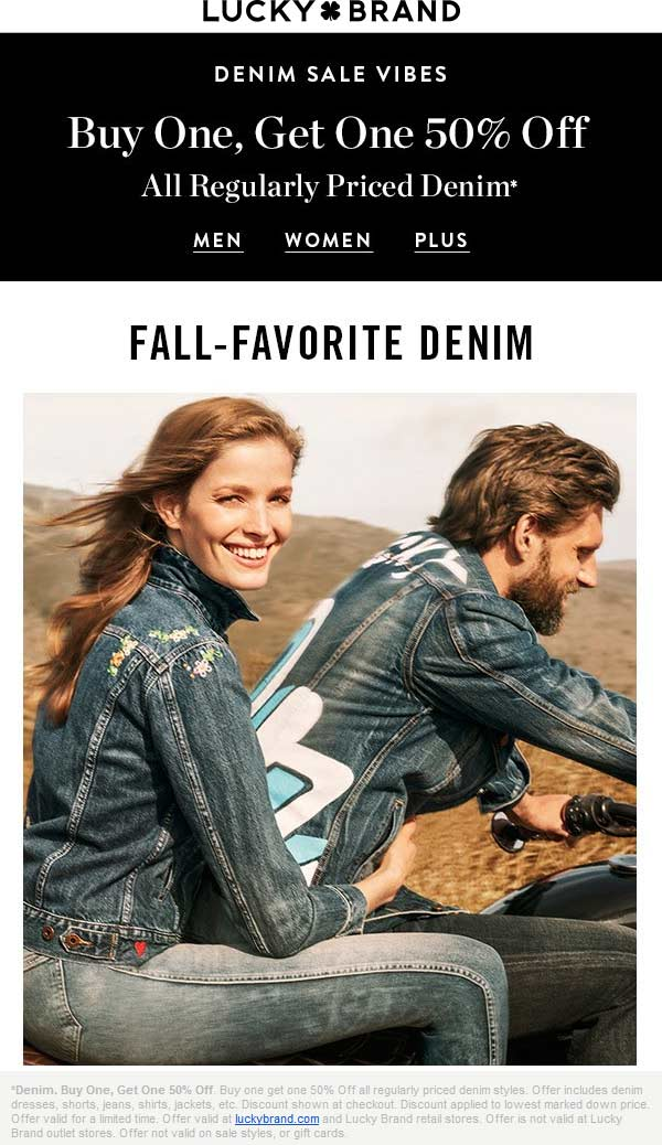 Lucky Brand Coupon February 2017 Second denim 50% off at Lucky Brand jeans, ditto online