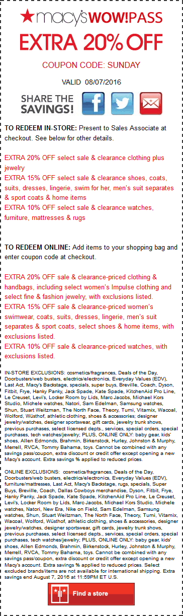 Macys Coupon May 2018 Extra 20% off today at Macys, or online via promo code SUNDAY