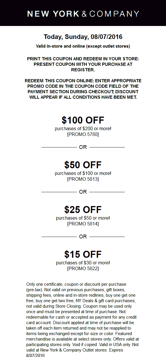 New York & Company Coupon December 2016 $25 off $50 & more today at New York & Company, or online via promo code 5814