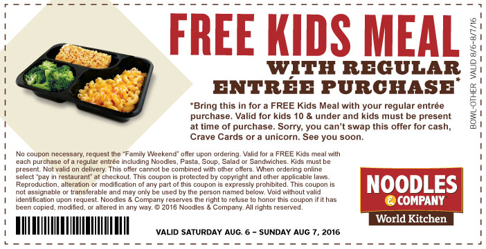 Noodles & Company Coupon March 2018 Free kids meal with your entree today at Noodles & Company