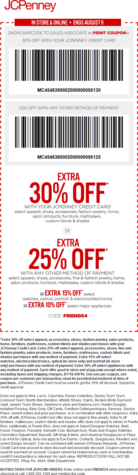 JCPenney Coupon June 2017 Extra 25% off at JCPenney, or online via promo code FRIENDS4