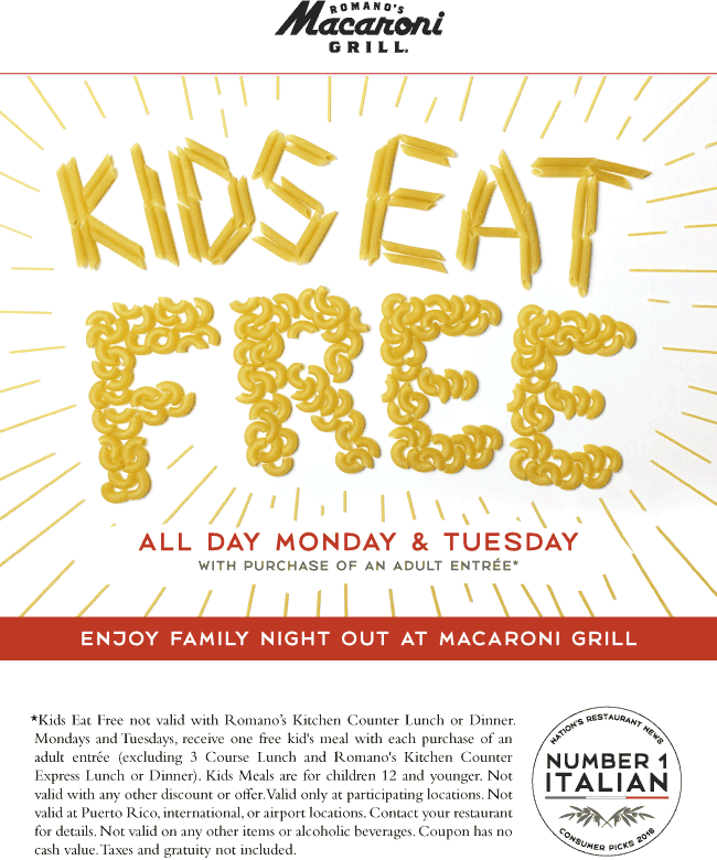Macaroni Grill Coupon May 2017 Kids eat free with your entree at Macaroni Grill
