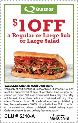 Quiznos Coupon October 2016 Shave a buck off your sub or salad at Quiznos