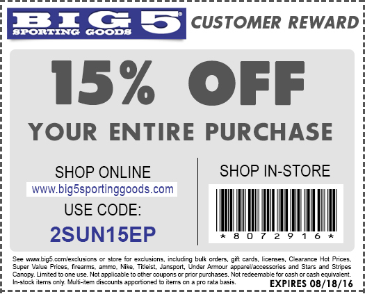 Big 5 Coupon November 2017 15% off everything at Big 5 sporting goods, or online via promo code 2SUN15EP