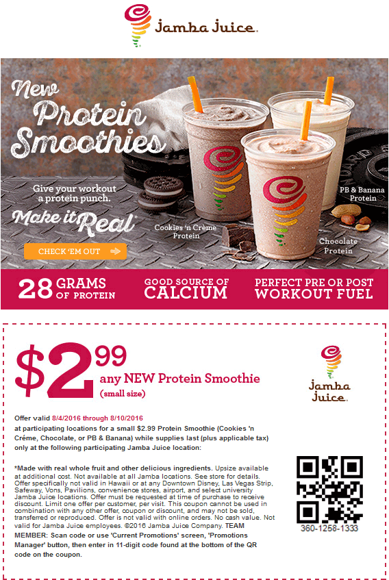 Jamba Juice Coupon May 2018 $3 protein smoothie at Jamba Juice