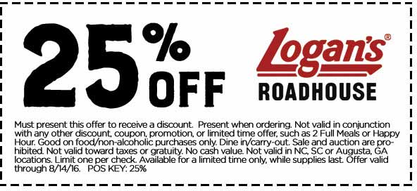 Logans Roadhouse Coupon December 2016 25% off at Logans Roadhouse restaurants