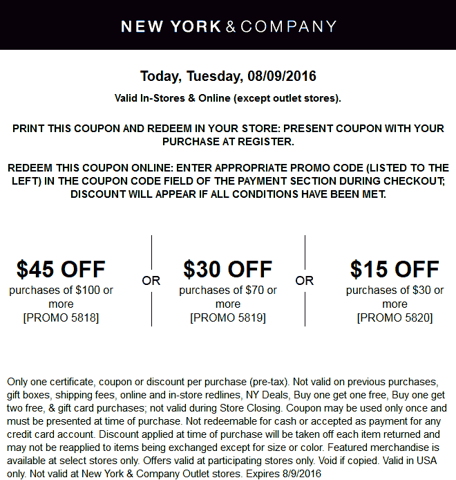 New York & Company Coupon September 2017 $15 off $30 & more today at New York & Company, or online via promo code 5820